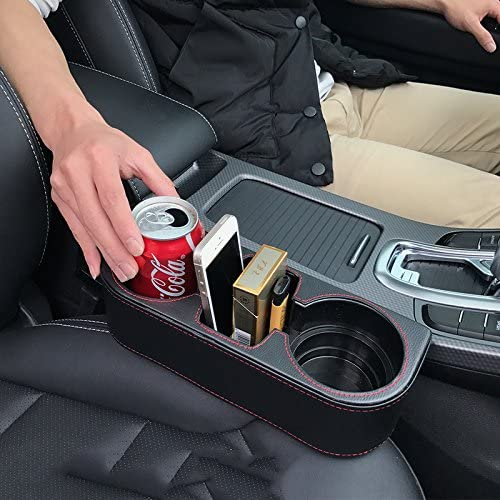 high quality IOKONE new arrival Coin Side Pocket Console Side Pocket Leather Cover Car Cup sale Holder Auto Front Seat Organizer Cell Mobile Phone Holder (Black) online sale