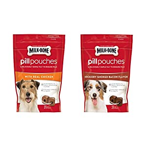 Milk – Bone Variety Pill Pouches with Real Chicken & Hickory Smoke Bacon Flavor – Each Pack 6 oz/Approx 25 Dog Treats