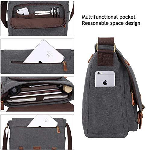 S-ZONE Herren Umhängetasche 15,6 Inch große Laptoptasche Vintage Canvas Messenger Bag Aktenktasche Schultertasche Bürotasche Kuriertasche
