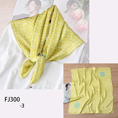 SJYM Bufanda de Seda para Mujer Chales de Cuello Cuadrado Foulard Lady Pashmina Bandana de Pelo geométrica sólida Pañuelo para el Pelo, FJ300-3
