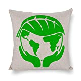 Funda de almohada para sofá de algodón y lino, funda de cojín de 45,7 x 45,7 cm, funda de almohada para recámara, con manos sosteniendo tierra verde con – para club, bar, cafetería, tienda, granja, oficina, dormitorio, sala de estar