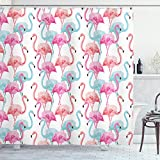 ABAKUHAUS Aquarell Duschvorhang, Hawaii Flamingos, Bakterie Schimmel Resistent inkl. 12 Haken Waschbar Stielvoller Digitaldruck, 175 x 200 cm, Baby Blue Salmon Pink