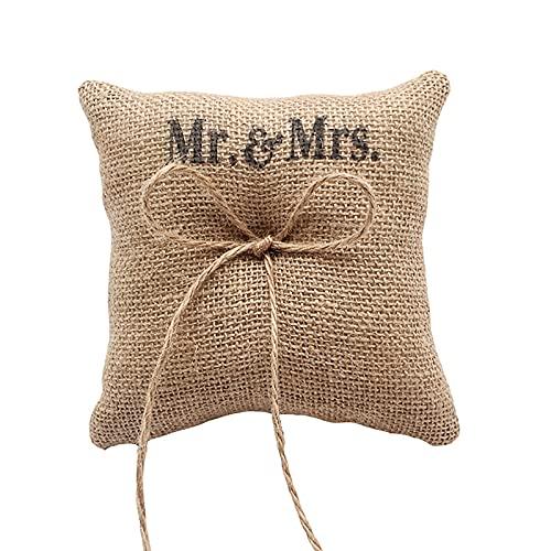 Soapow Cojín para anillo de boda, 15 cm, con lazo, accesorios para ceremonia de boda