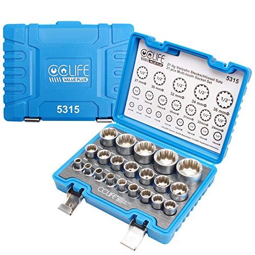"""CCLIFE 21tlg 1/2"""" Vielzahn Nuss Satz Steckschlüssel Set für 6 und 12 Kant 8-36mm Außenvielzahn Stecknuss Nusskasten"""