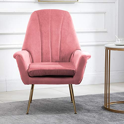 nozama Modern Armchair Upholstered Living Room Chair Accent Velvet Tub Chair with Wooden Legs High Back Armchair Occasional Velvet Chair for Bedroom Office Lounge Reception Soft Padded Fireside Chairs