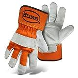 ボスプレミアムダブルsplit-leather Palm作業手袋–L–グレー/オレンジ–L