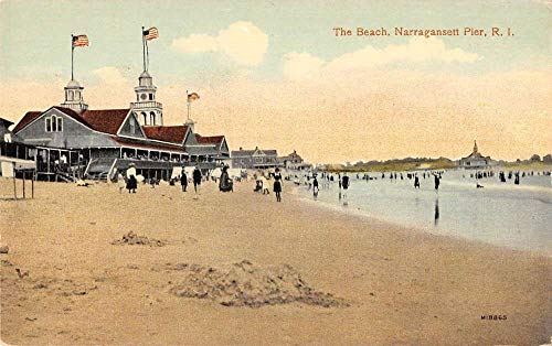 Narragansett Pier Rhode Island view of beach bathers in surf antique pc ZD549514