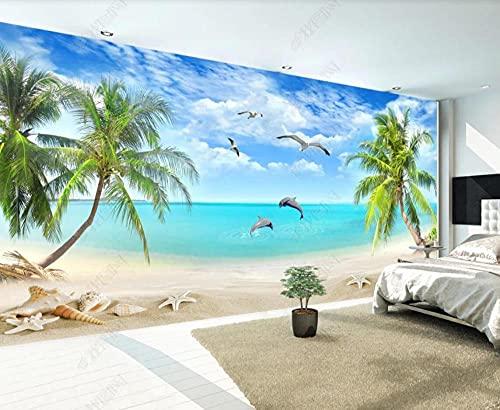 Papel Pintado Pared 3D Pared Delfín De Palma De Coco De Playa De Mar Fotomurales Decorativos Pared Decoración Mural Pared