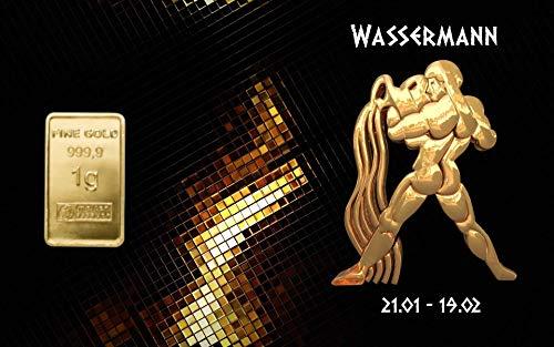 Deutsches Goldkontor 1,0 Gramm Feingold Motiv-Karte Sternzeichen Wassermann Goldbarren / 999,9 Gold