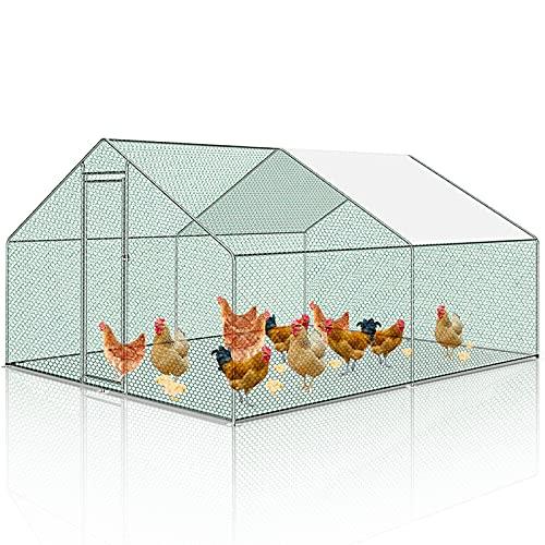 Hengda Hühnerstall Hühnerhaus Geflügelstall Freilaufgehege mit Dach Geflügelhaus verzinktem Stahlrahmen mit PE beschichtet für Hühner- und Vogelkäfig (3 x 4 x 2 Meter)