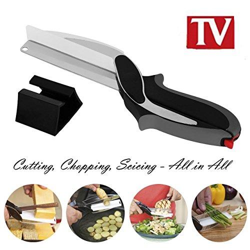 Clever Cutter 2-in-1 Gemüseschneider, Schere und Schneidbrett, vielfältig, ergonomisches Design