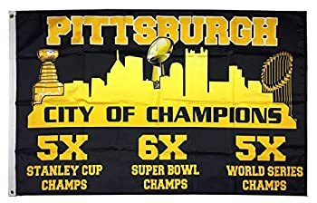 Aihccy Pittsburgh City of Champions Flag Banner 3X5 Feet Man Cave