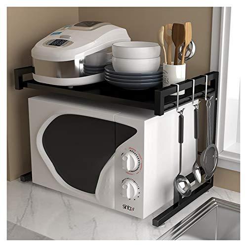 Rejilla extensible para horno microondas de 2 niveles,organizador de estantes de almacenamiento de mostrador de cocina con 3 ganchos para colgar,soporte de carga de 25 kg de acero inoxidable - Negro