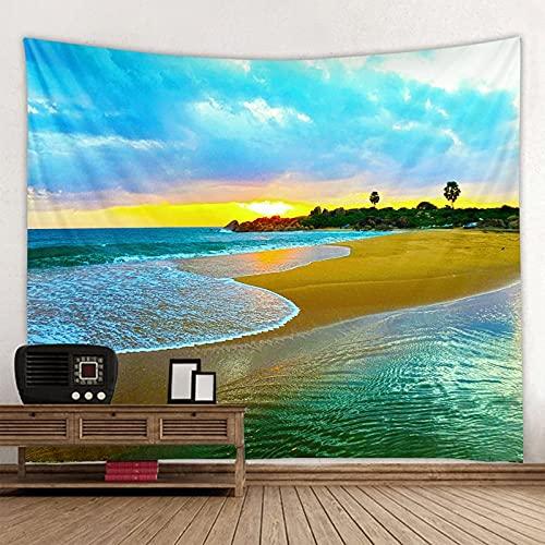 Encantador Tapiz con Vistas al mar para Colgar en la Pared, Tapiz de Mandala Indio, Tapiz Hippie, paño de Pared Boho A8, 2,1x1,5 m