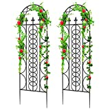Amagabeli 2 Pack Large Garden Trellis for Climbing Plants 71 x 21 Heavy Duty Rustproof Black Iron Plant Trellis for Potted Plant Support Tall Wall Metal Trellis for Rose Vine Vegetable Cucumber GT02