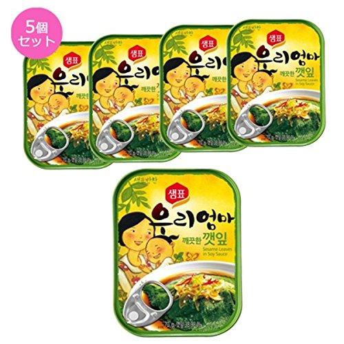 (韓国食品・おかず缶詰) センピョお母さんの味「エゴマの葉キムチさっぱり味」5個セット