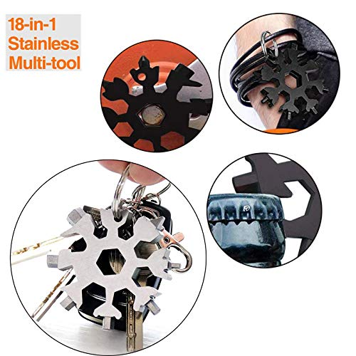 18-in-1 Snowflake Multi Tool , Daily Handy Tool for Outdoor Travel Camping Adventure. Stainless Steel Bottle Opener Keychain.The Perfect DIY Gift for Men and Women for Christmas (Silver)