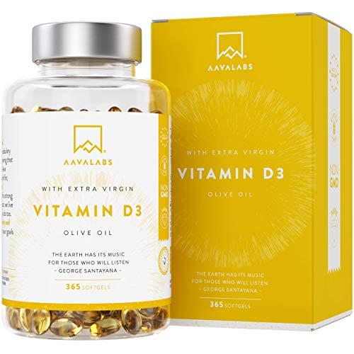 Vitamine D3 Naturelle à Haute Concentration [5000 UI] Depot - Avec Huile d'Olive Extra Vierge pour une Absorption Optimale - Soutient les Fonctions Osseuse, Musculaire et Immunitaire - 365 Gélules