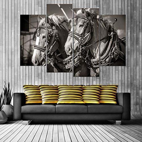 Cuadro En Lienzo 4 Piezas Impresiones sobre Lienzo Caballos enganchados ImpresióN HD Pintura 4 Piezas Modernos Salón Decoracion Murales Pared Lona XXL Hogar Dormitorios Decor