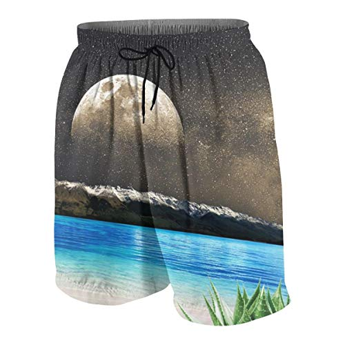 Boys Teens Beach Shorts Swim Trunks Aloe Vera Moon Beach-2 Boardshort Pants with Pockets