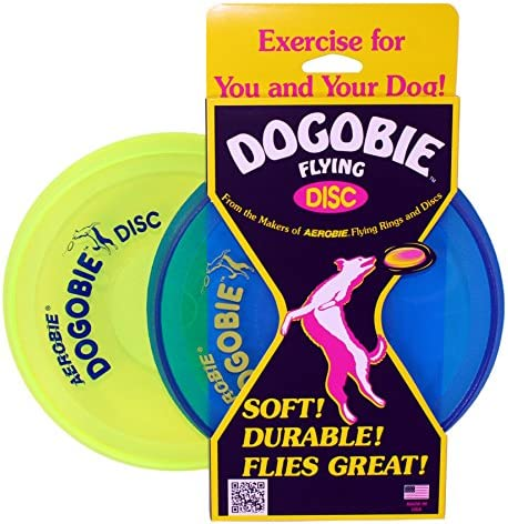 Aerobie Dogobie Discs for Dogs Pack of 2 1 Blue Disc 1 Yellow Disc product image