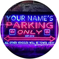 Personalized Your Name Est Year Theme Parking Space Garage Dual Color LED看板 ネオンプレート サイン 標識 赤色 + 青色 400 x 300mm st6s43-qo1-tm-rb
