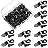 100 Pieces Frame Turn Button Metal Bow Shape Frame Picture Turn Button with 100 Pieces Screws for Hanging Pictures Photos Drawings and Posters Black