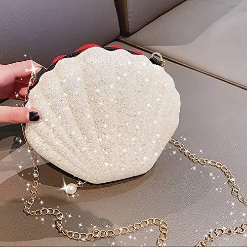 Muscheltaschen für Damen 2019 Luxus Abendtasche Pailletten Handtaschen Lady Mini Kette Schultertasche Designer Mädchen Perle Anhänger Crossbody Bag