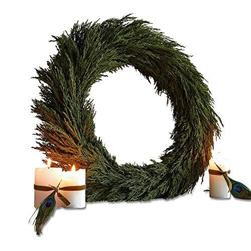 Loberon Kranz Évres, Weihnachtsdeko, Zypresse, Rattan, Innen: Schaumstoff, H/Ø ca. 8/50 cm, grün