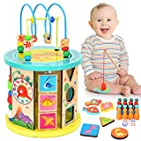 WloveTravel Motorikwürfel,Wooden Activity Cube Bead Maze 10 in 1...