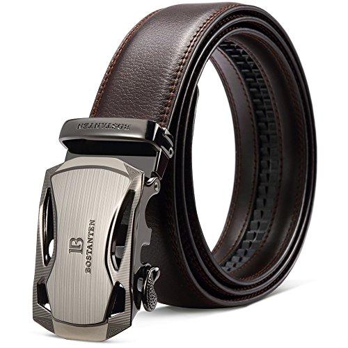 BOSTANTEN Men's Leather Ratchet Dress Belt with Automatic Sliding Buckle Coffee