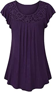 Tunics for Women to Wear with Leggings Short Sleeve Ladies Solid Lace Patchwork Ruched Blouse Tops Shirt