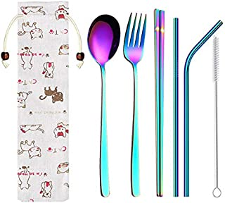 Korean Dinnerware Set Stainless Steel Portable Cutlery Chopsticks Fork Spoon with Metal Straws Cocktail for Travel Cutlery Set - denby dinnerware
