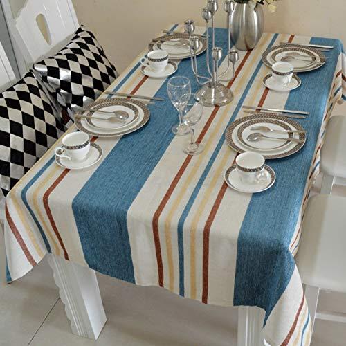 ZHUAN Mantel de algodón y Lino a Rayas, Antiarrugas Transpirable para Mesa de Comedor, Sala de Estar, Hotel, Boda, Patio-b 150x240cm (59x94inch)