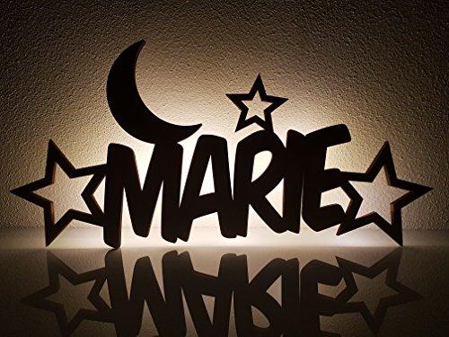 """Schlummerlicht/Nachtlicht\""""Mond und Sterne\"""" - personalisiert mit Namen - Optional mit Zugschalter und/oder Lackierung"""