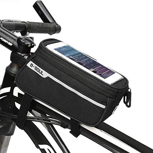 HCFSUK Bolsa de Marco Frontal para Bicicleta, Bolsa de Almacenamiento Impermeable para Soporte de teléfono para teléfono Celular por Debajo de 6.5 Pulgadas.