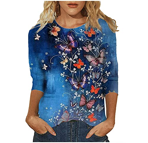 Womens Summer Cat Print Tops, Fashion 3/4 Sleeve Casual T-Shirts, Girls Cute Crewneck Loose Fit Tunic Top Blouses Tee