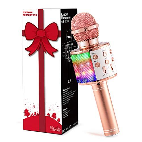 Fede Micrófono Karaoke Bluetooth, Microfono Inalámbrico Karaoke Portátil con luz LED multicolor para Niños Canta Partido Musica, Compatible con Android/iOS PC o Teléfono Inteligente