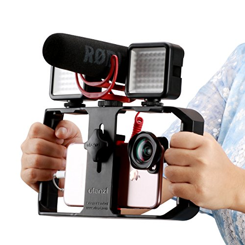 Ulanzi U Rig Pro Video Rig for iPhone, Phone Stabilizer Rig w Triple Cold Shoe Mount,Phone Tripod Mount for iPhone 11 Pro Max XS Max X 8 7 6 plus OnePlus 7 Pro Samsung Google Pixel Vlogging Filmmaking