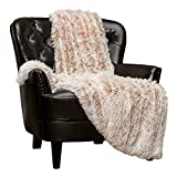 Chanasya Super Soft Fuzzy Shaggy Faux Fur Throw Blanket - Chic Design Snuggly Plush Lightweight with Fluffy Reversible Sherpa for Couch Living Room Bedroom and Home Décor (50x65 Inches) Beige Mocha