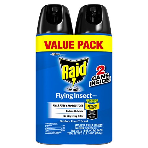 Raid Flying Insect Killer, Kills Flies and Mosquitoes, For Indoor and Outdoor, No Chemical Odor, 15 Oz, Pack of 2