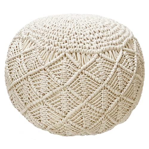 COSA LIVING Pouf Sitzpuff Strick Velours Sitzhocker Strickhocker Makramme Sitzpouf Bodenkissen 100% Handmade Makramee Knitted Mandala Pouf