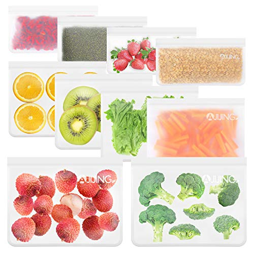 10 Pack Reusable Food Storage Freezer Bags 4 Reusable Sandwich Bags  4 Reusable Snack Bags  2 Reusable Ziplock BagsExtra Thick Leakproof Silicone Free Bags For Lunch Travel MakeUp