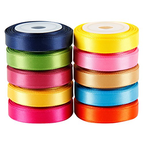 LaRibbons Solid Color Satin Ribbon Asst. #2-10 Colors 3/8' X 5 Yard Each Total 50 Yds Per Package