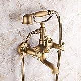 AXWT Todo el Bronce Antiguo Ducha Faucet Estilo Europeo Retro Tome una Ducha Tome un Traje de Ducha Ducha de baño Grifo de Agua