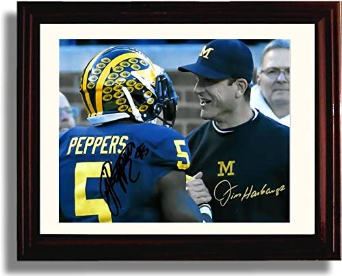 Framed Jabrill Peppers The Leap Michigan Wolverines Autograph Replica Print