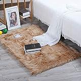 YIHAIC Faux Lammfell Schaffell Teppich, Modern Wohnzimmer Teppich Flauschig Lange Haare Fell Optik Gemütliches Schaffell Bettvorleger Sofa Matte (Braun, 75 x 120 cm)