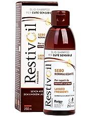 Restivoil Fisiologico Sebonormalizzante Olio-Shampoo per Cute Sensibile e per Capelli Normali e Grassi, Senza Agenti Schiumogeni e Aggressivi - 250 ml
