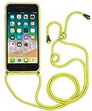 StilGut Funda Cuerda Compatible con iPhone SE 2020 / iPhone 8/ iPhone 7 Carcasa Cuerda Reverso Cuero, Amarillo