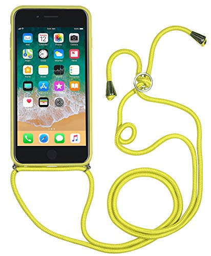 StilGut Custodia Tracolla iPhone SE 2020/iPhone 8/iPhone 7, Cover con Collana/Cordino in Pelle e plastica, Giallo